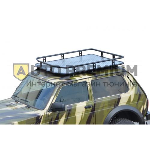 Багажник «ТРОФИ» с алюмин. листом (монтаж на рейлинги) 4х4 «Нива»